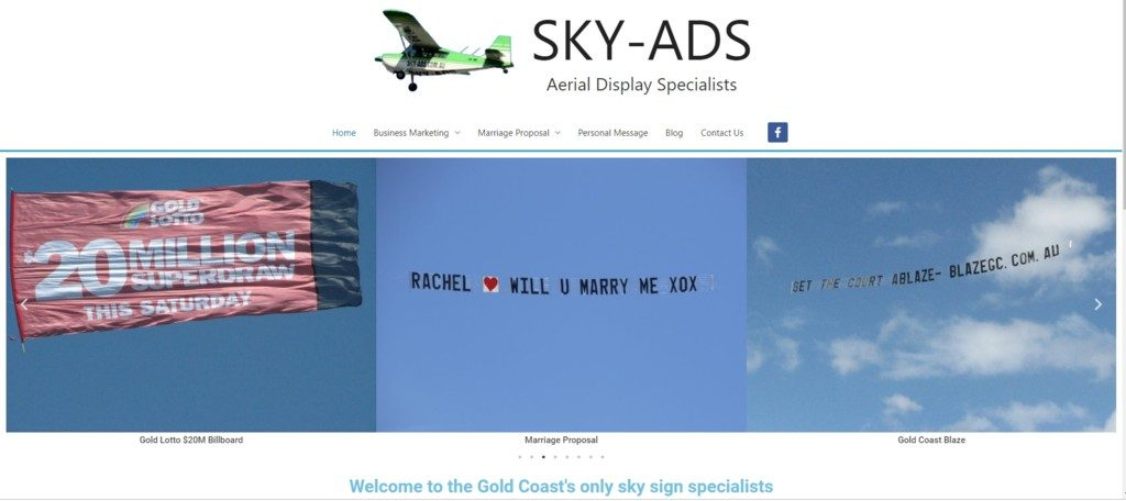 Screen shot, Image of SKY-ADS home page
