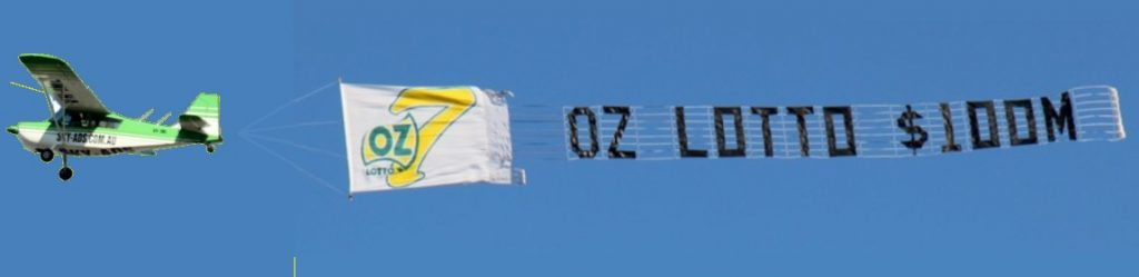 Oz lotto logo. aerial billboard plus letters