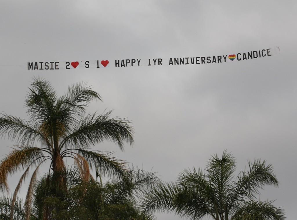 Rainbow Love Heart Anniversary Banner tow