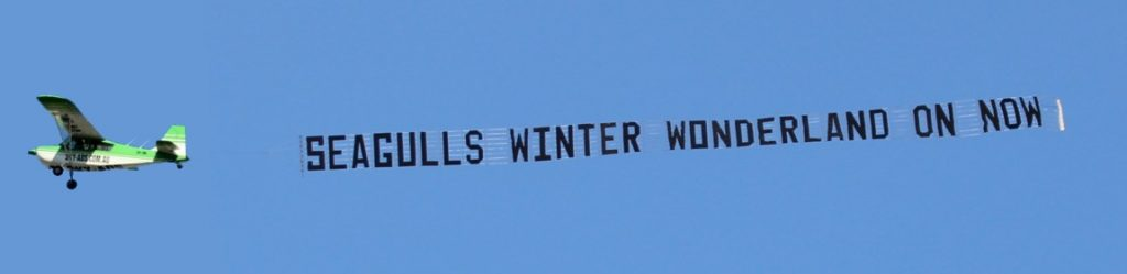 seagulls aerial banner behind aircraft on a perfectly clear day