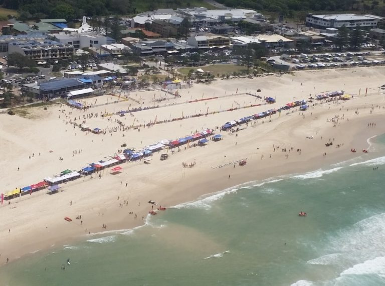 Aerial picture of the national championships surf carnival