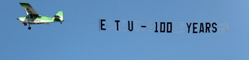 etu aerial display. banner towing behind sky-ads aircarft