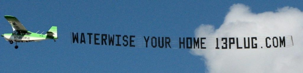 government promotion skywriting. water-wise