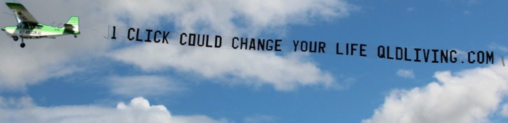 qldliving sky-ads. Very long sky sign of 44 letters