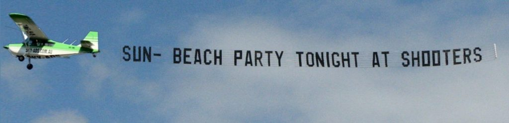 shooters beach party. business marketing, aerial display