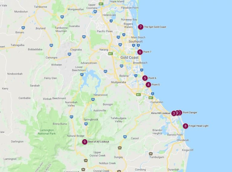Google maps image of the top 10 marriage proposal sites on the Gold Coast