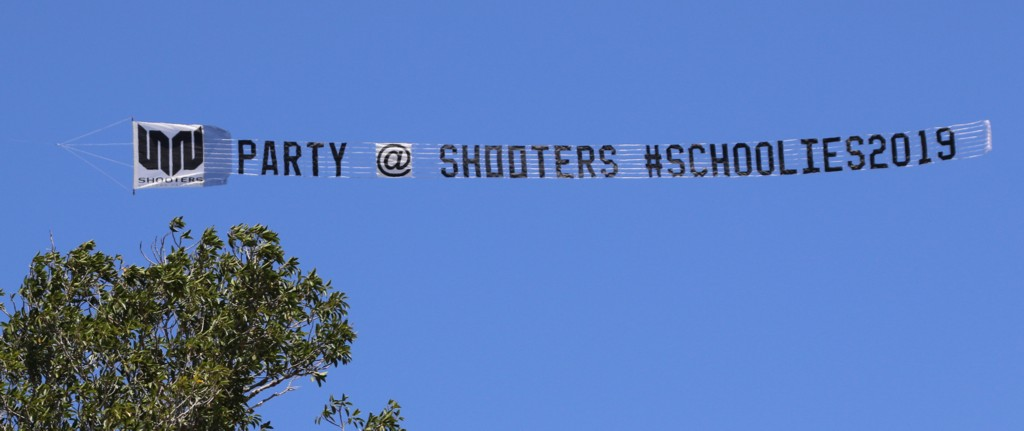 "Sky Sign reads ""Party @ Shooters"""