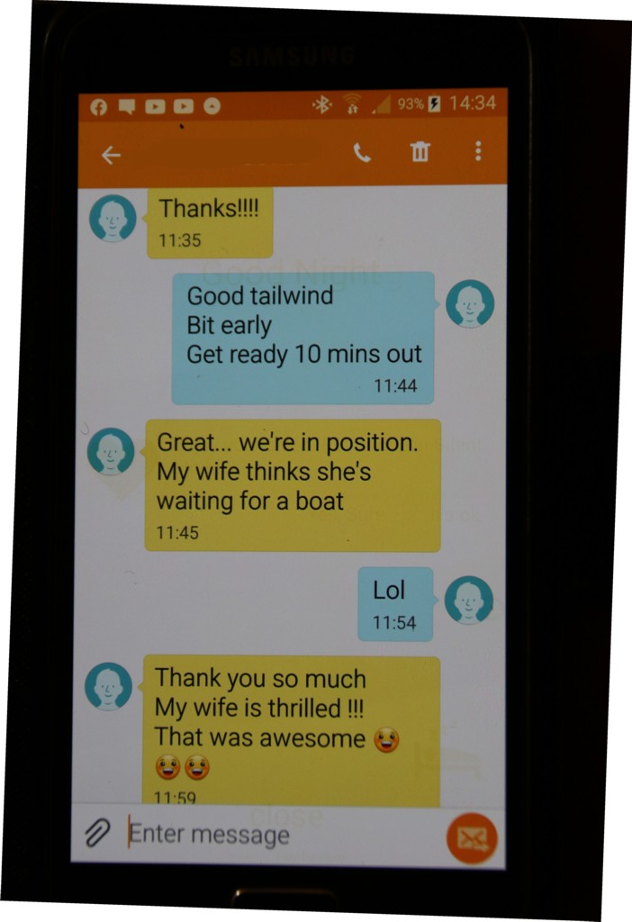 Mobile Phone Text Excited clients reaction to Wedding Anniversary Banner