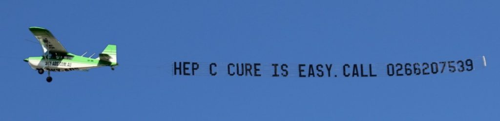 "Sky Ad for World Hepatitis Day reads ""Hep C Cure is easy Call 0266207539"""