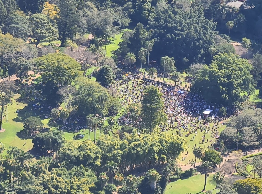 Aerial Photo of Crowds Protesting Lock Downs in Brisbane