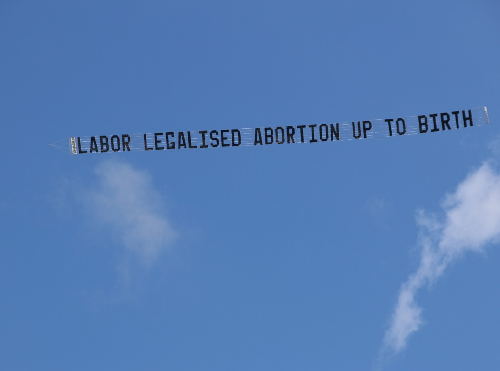 Cherish Life Protest Aircraft Banner flying in the air