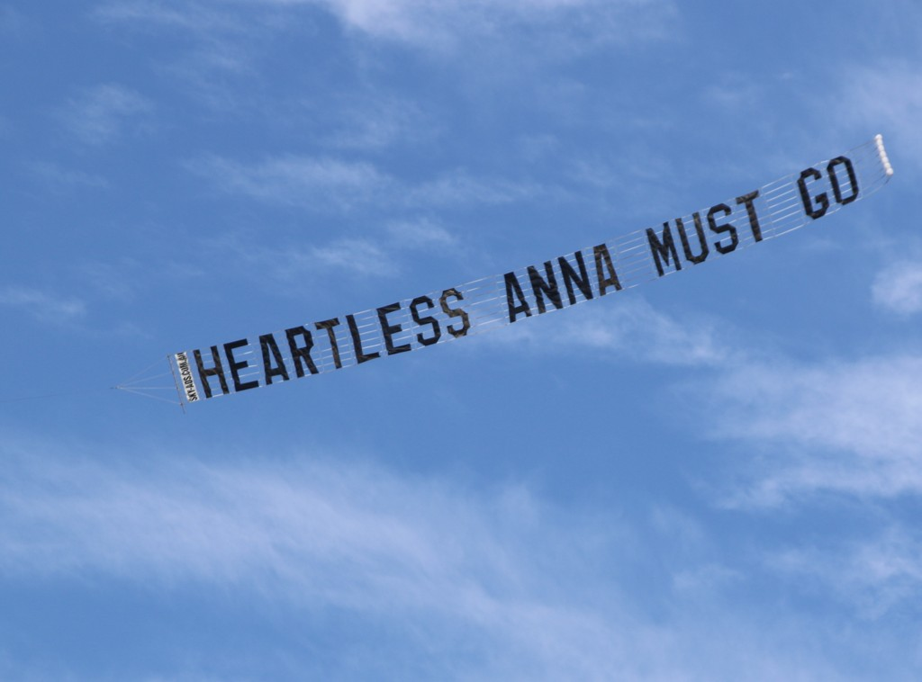 """Heartless Anna Must Go"" - written across the sky"
