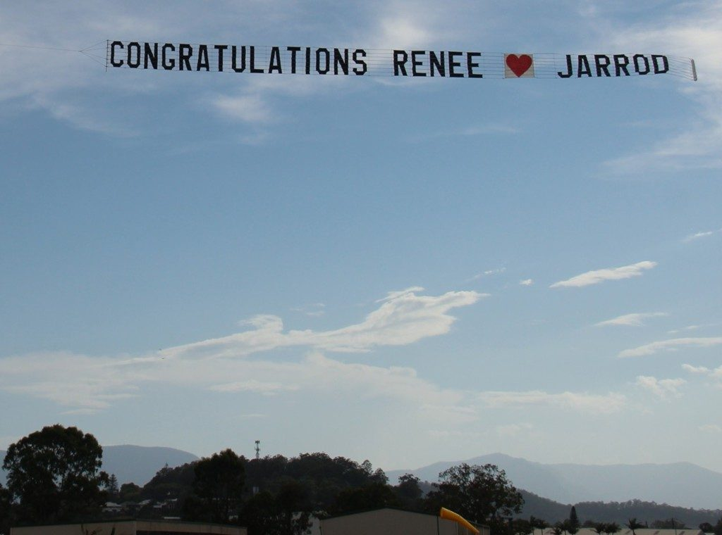 congratulations message flying past