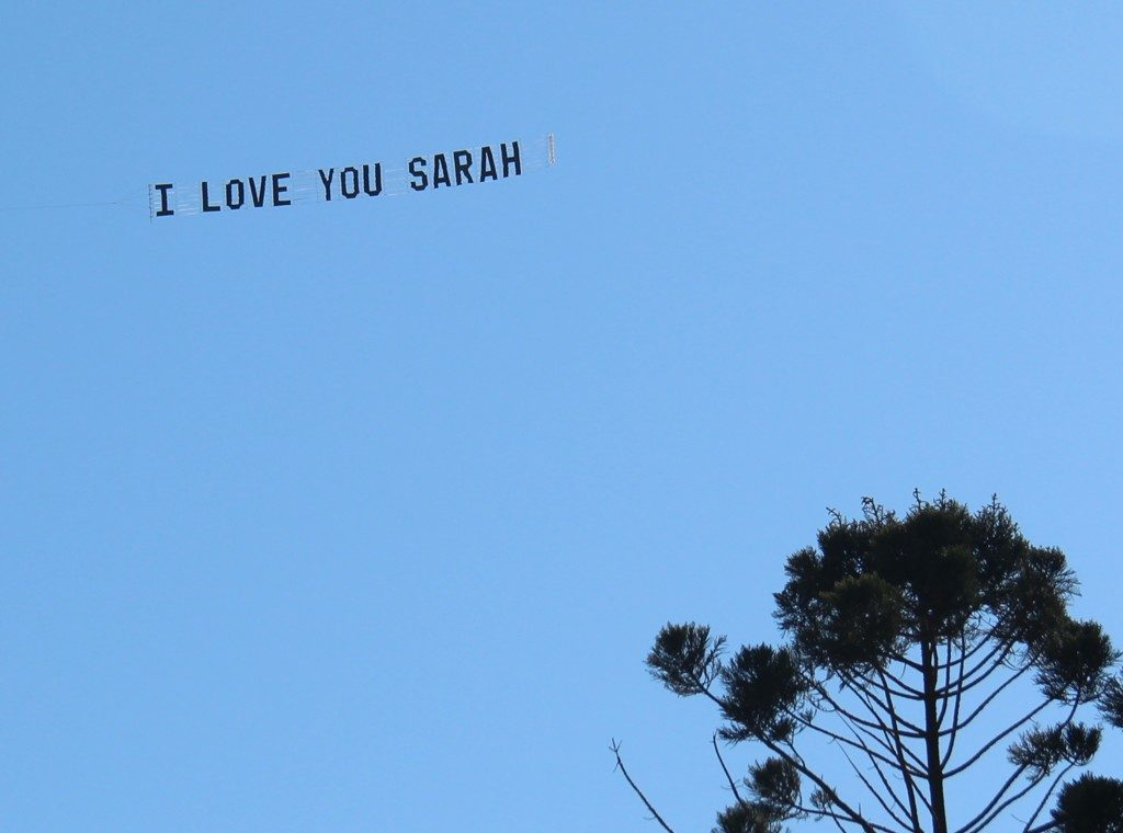 "Valentine's Day "" I love you"" sky-sign"