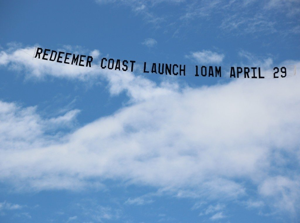 redeemer church launch, sky banner. flying over the sunshine coast