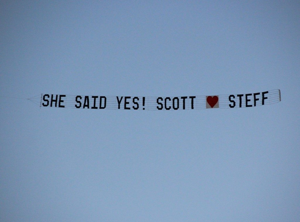 she said yes wedding banner skywriting