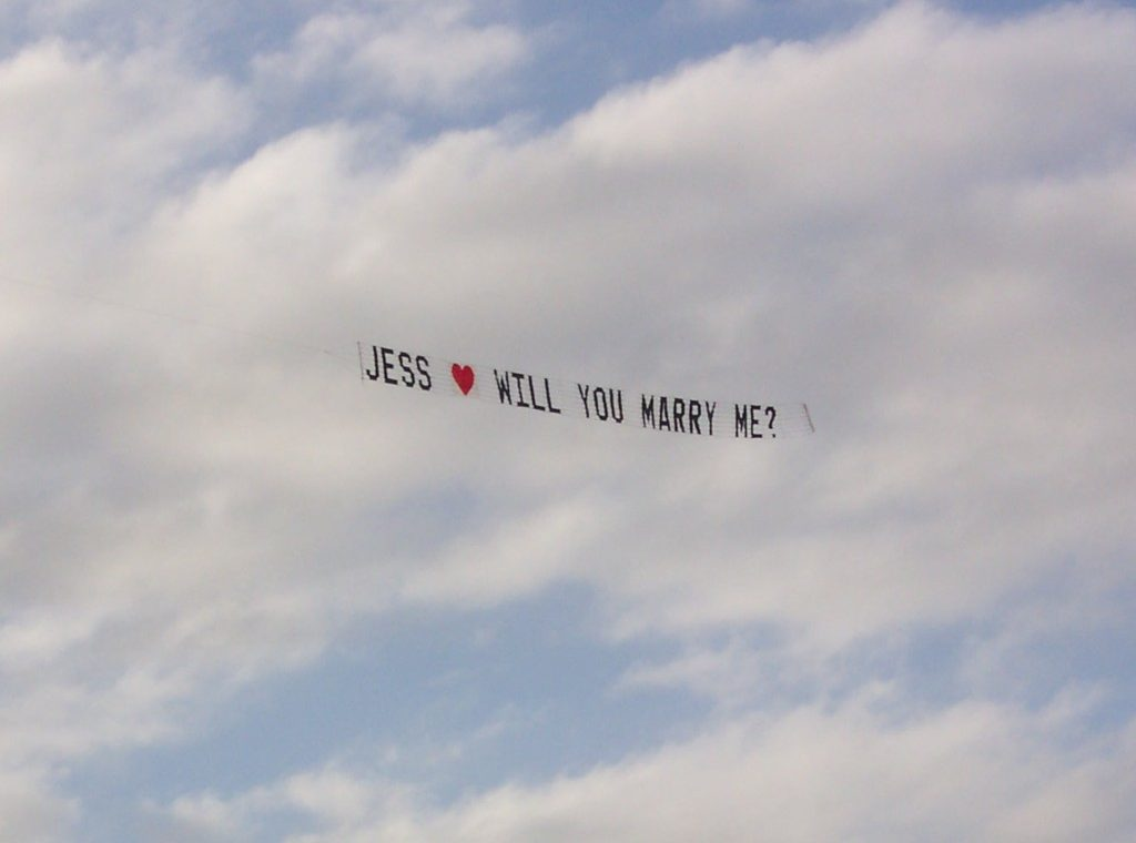 unique flying marriage proposal